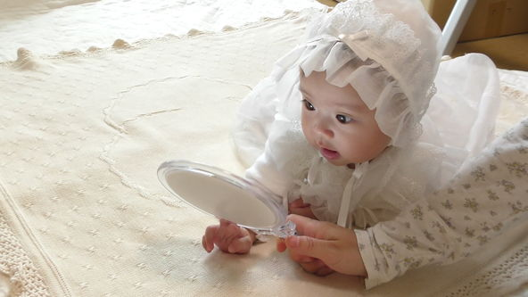 Cute Baby Model Wearing White Baby Dress, Let First the Makeup