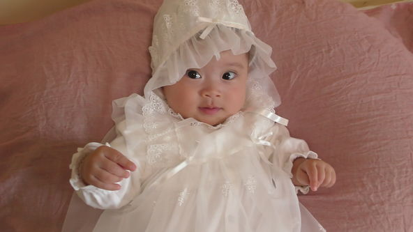 Cute Baby Model Wearing White Baby Dress, Smile and Cooing, Babbling