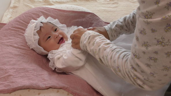 Cute Baby Model Wearing White Baby Dress, Song with Hand Motions Part2