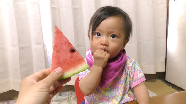 Cute and Funny Baby Eats Watermelon Rind for the First Time